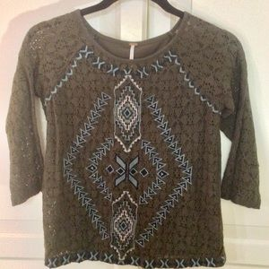 Free People 3/4 Sleeve-XS/TP OliveGreen/Pattern